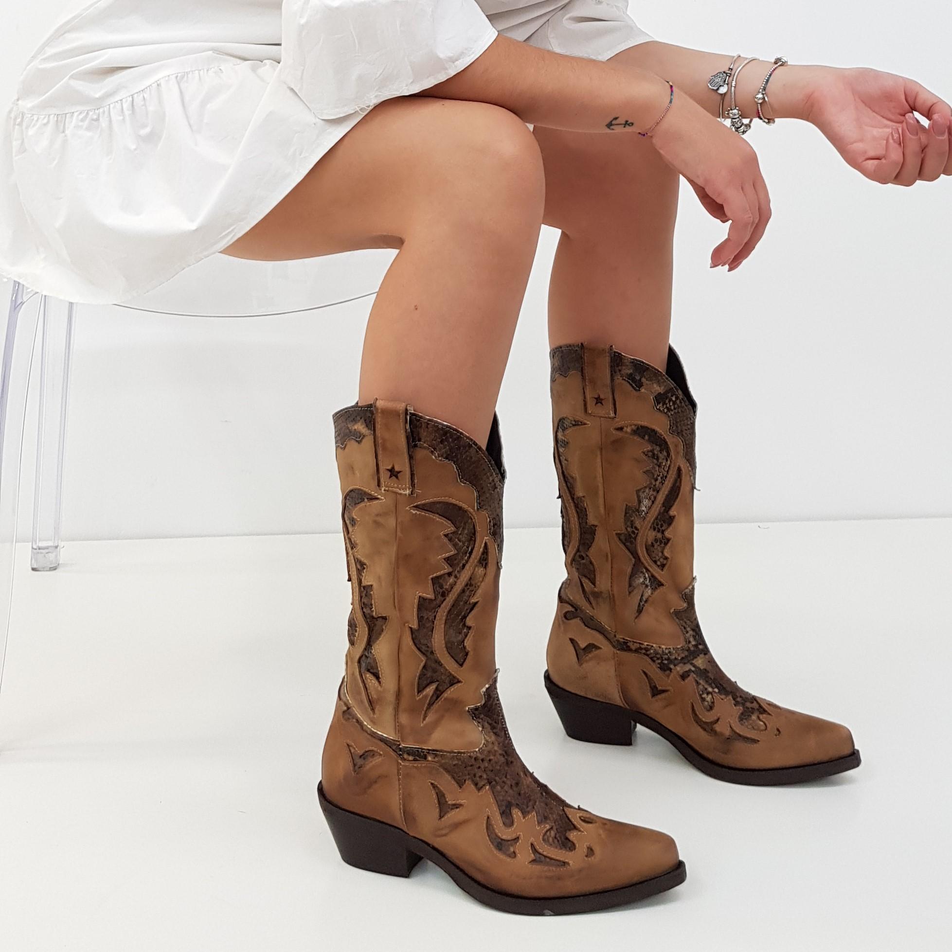 Stivali nabuk cuoio e anaconda oldwest1 - Lia diva scarpe ...
