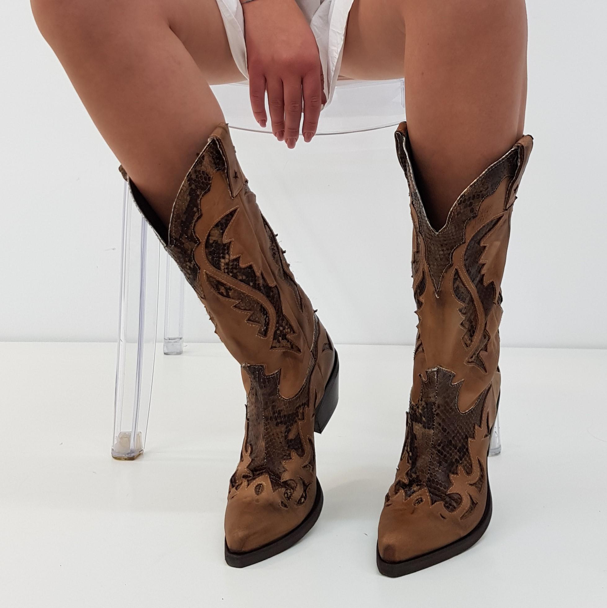 Stivali nabuk cuoio e anaconda oldwest1 - Lia diva calzature ...