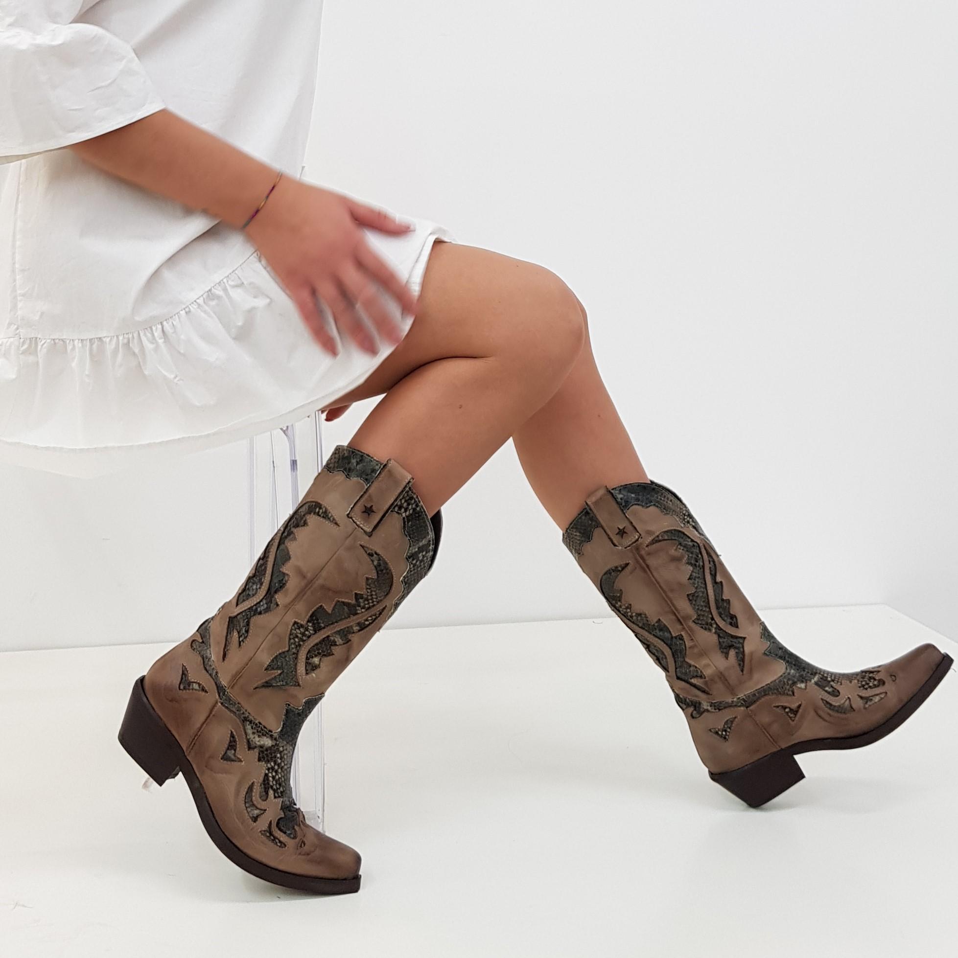 Stivali nabuk taupe e anaconda oldwest1 - Lia diva scarpe ...