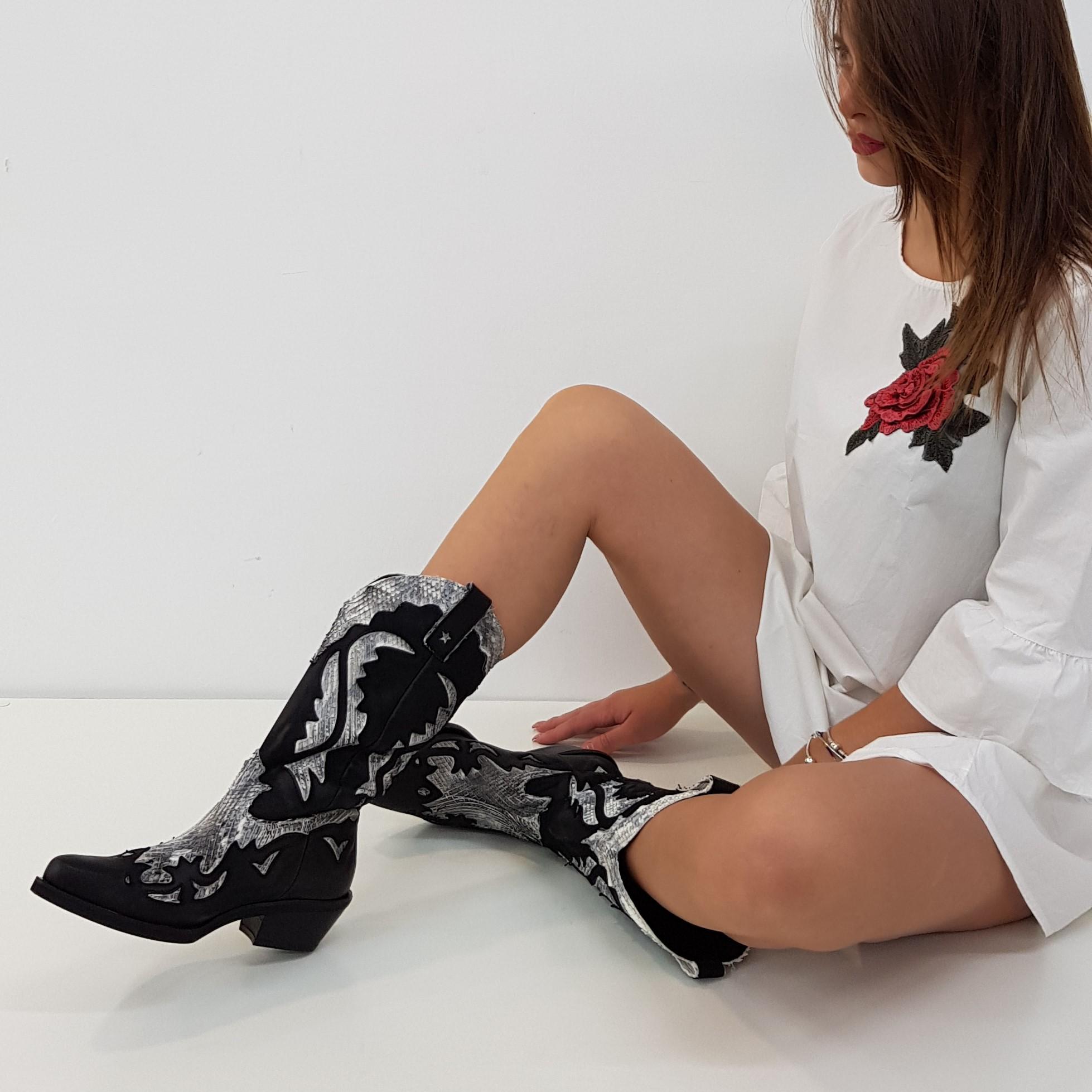 Stivali pelle nero e anaconda bianco oldwest1 - Lia diva scarpe ...