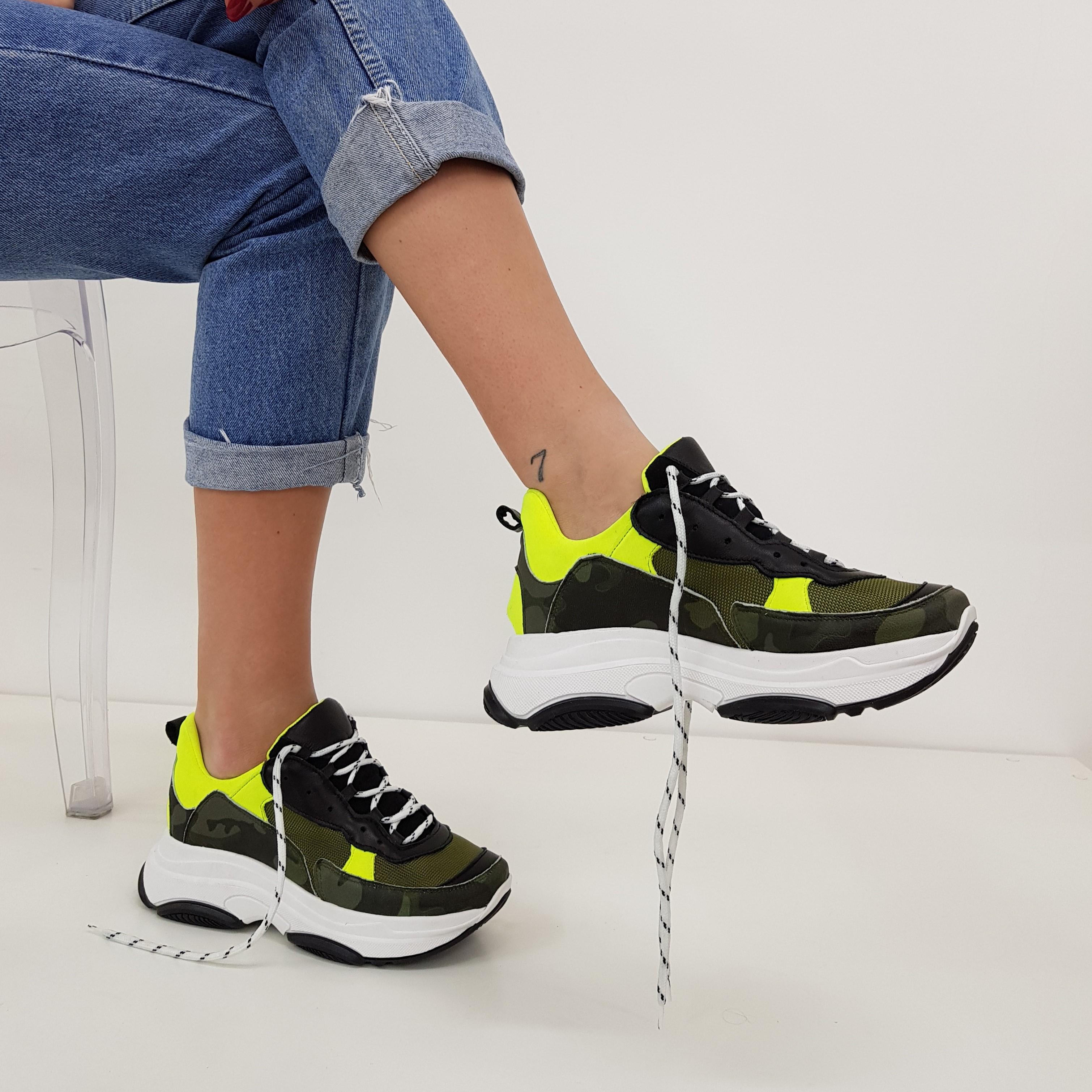 Sneakers lacci mimetico e giallo kent1 - Lia diva scarpe ...