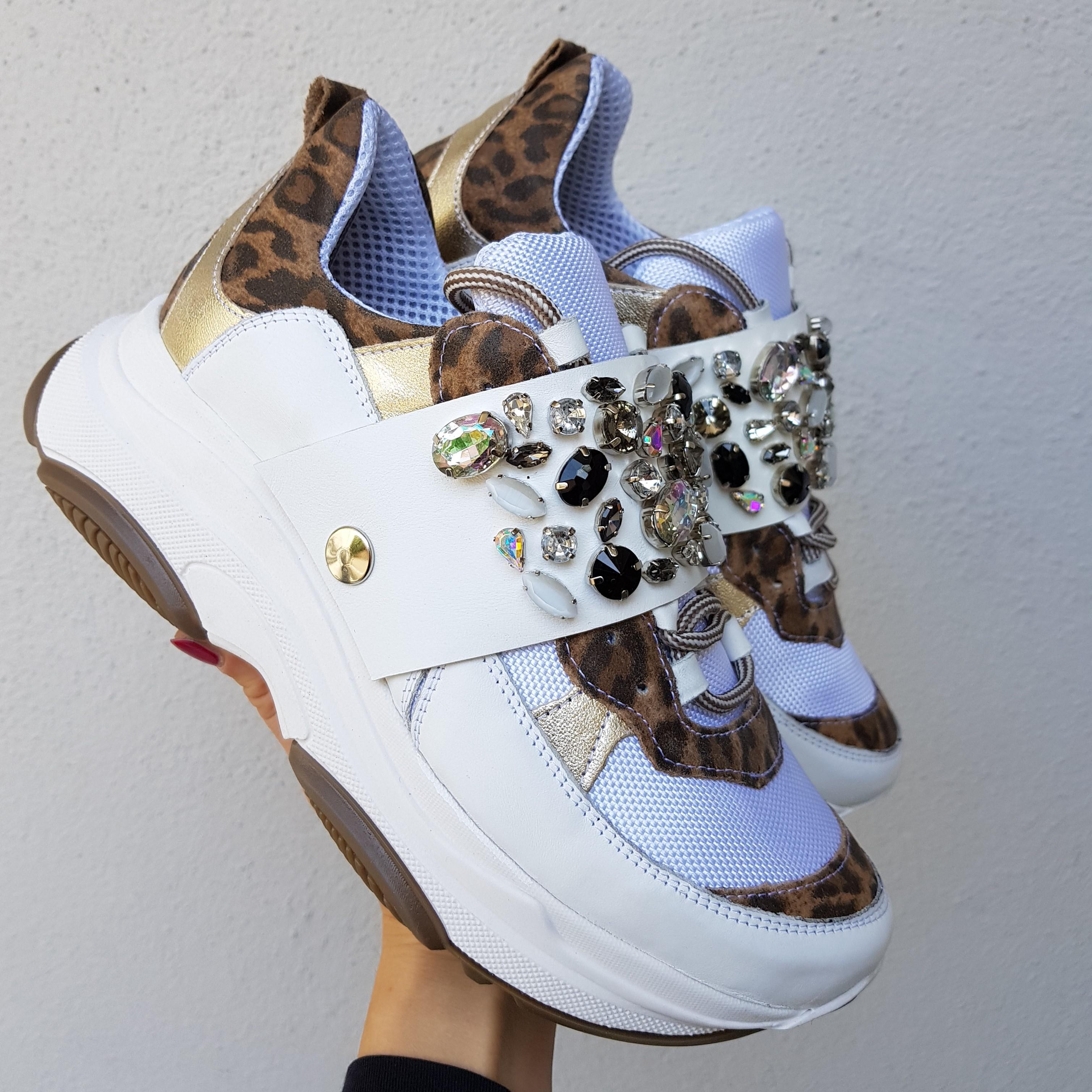 Sneakers pelle bianco e leopardo strass kent4 - Lia diva calzature ...