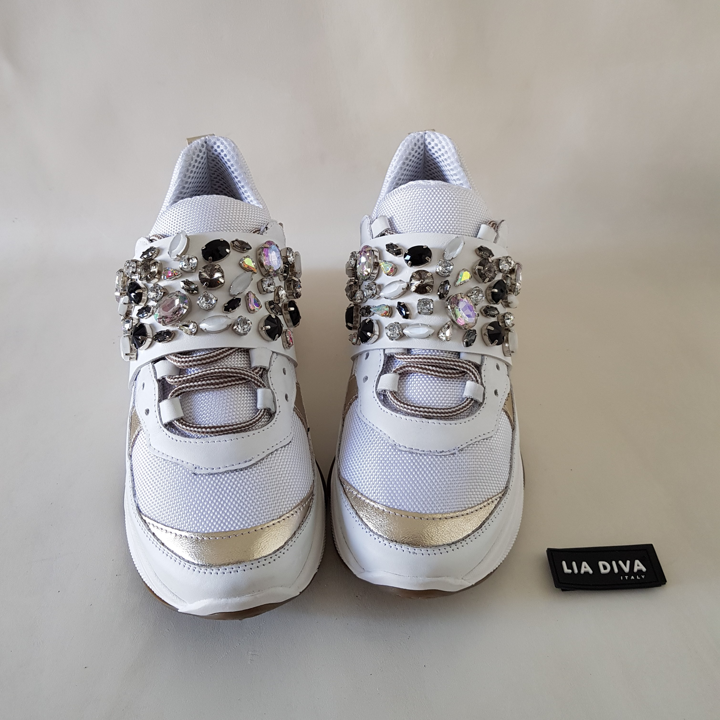 Sneakers pelle bianco e oro strass kent4 - Lia diva scarpe ...