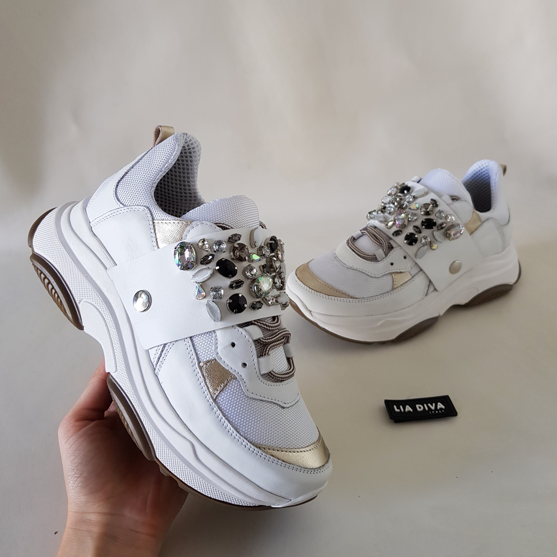 Sneakers pelle bianco e oro strass kent4 - Lia diva calzature ...