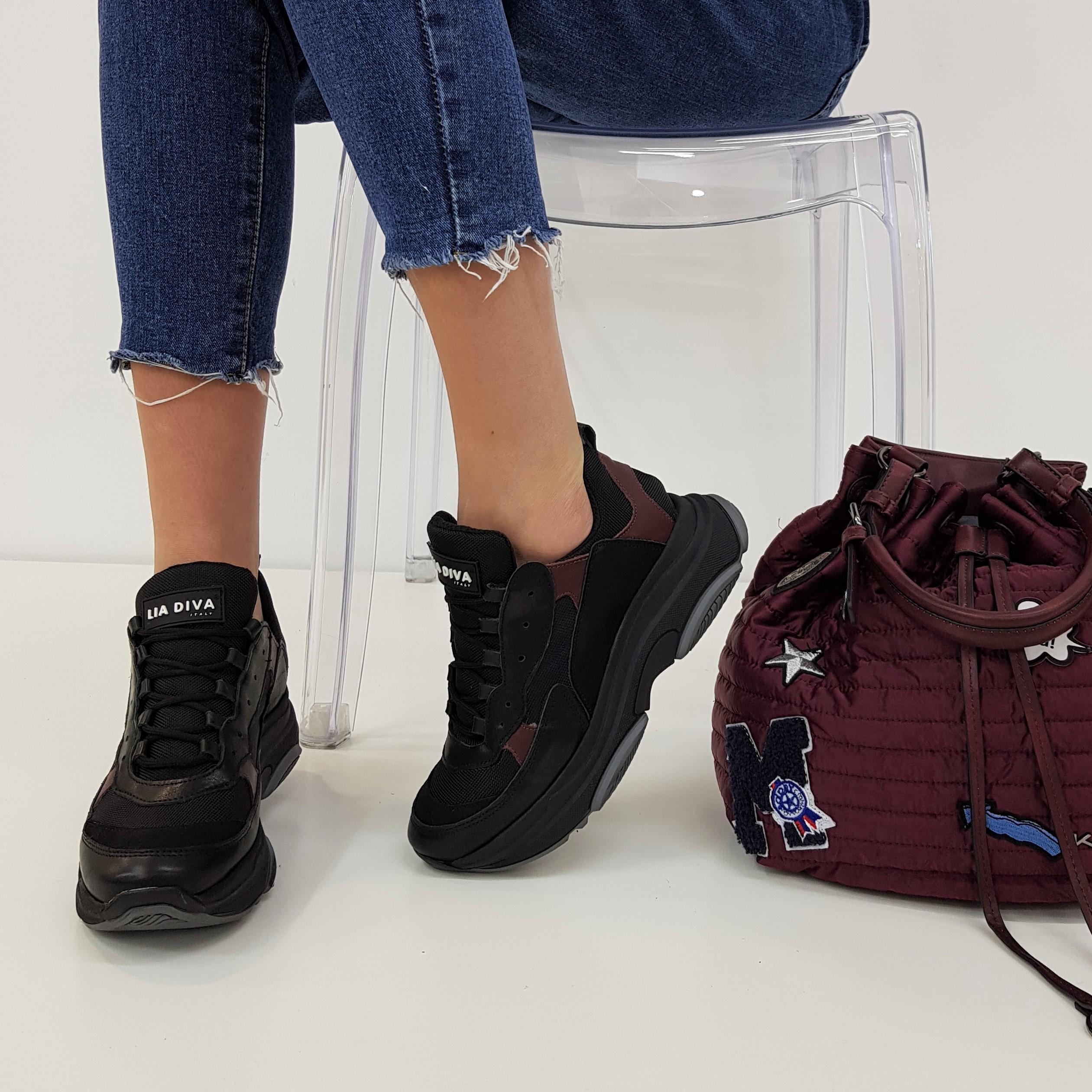 Sneakers lacci pelle nero e bordeaux kent1 ben - Lia diva scarpe ...