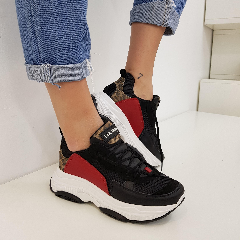 Sneakers lacci pelle nero e leopardo kent1 - Lia diva scarpe ...
