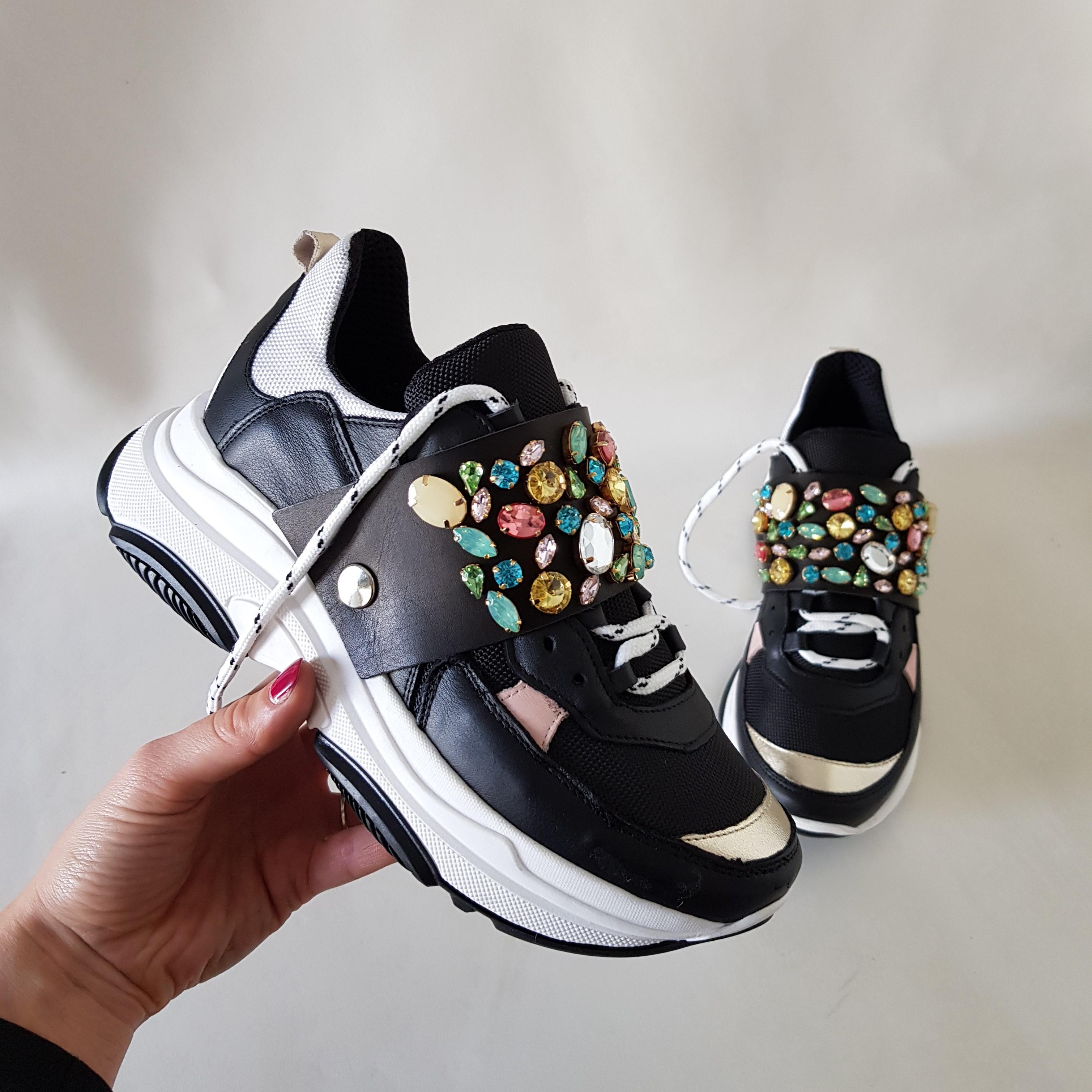 Sneakers pelle nero e oro strass colorati kent4 - Lia diva scarpe ...