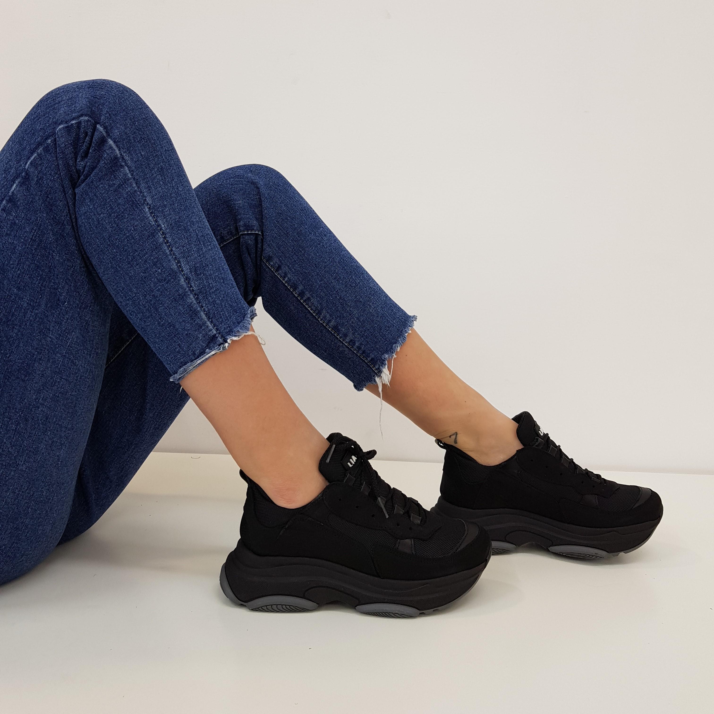 Sneakers lacci pelle nero kent1 total black - Lia diva scarpe ...
