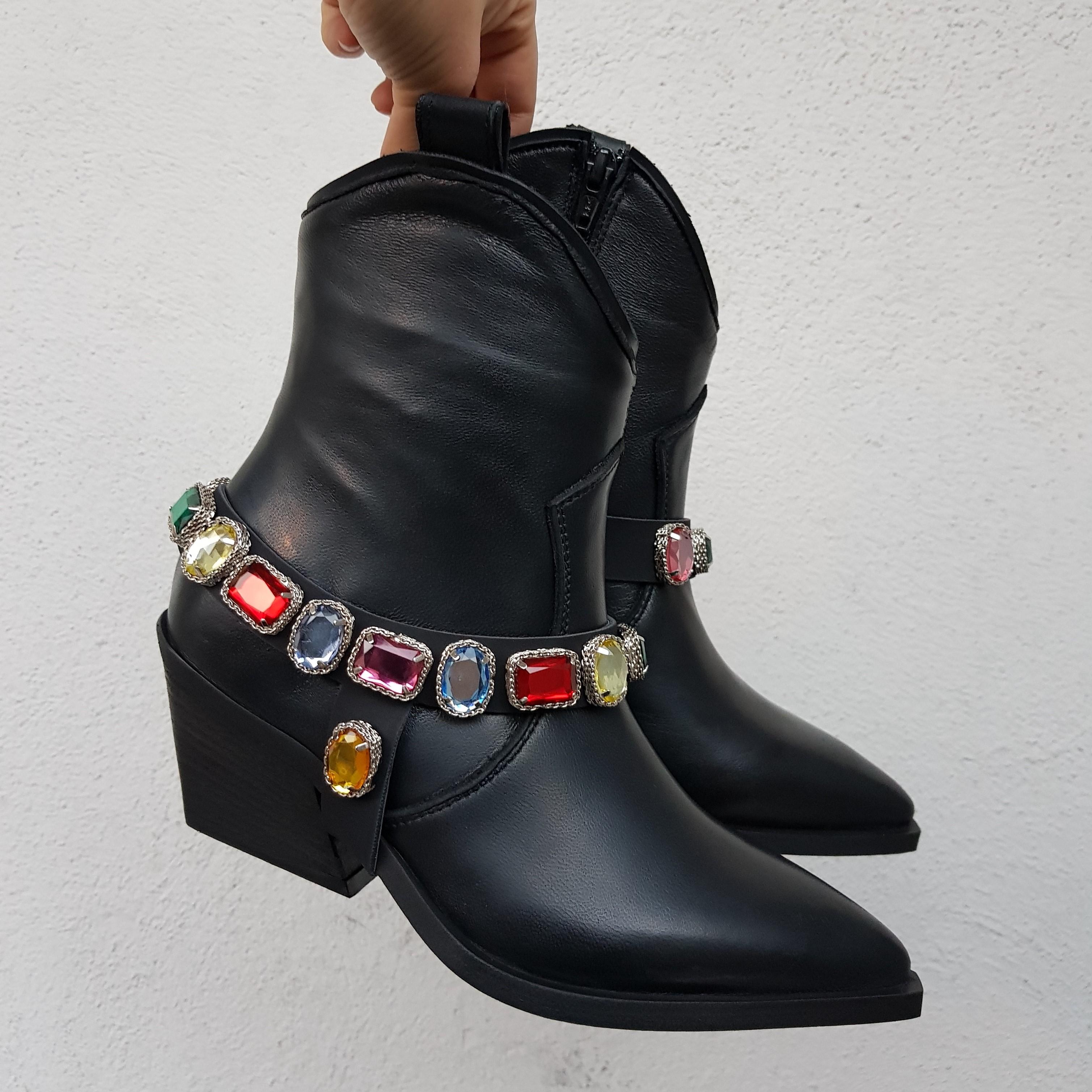 Stivaletti pelle nero e strass colorati stephan2 - Lia diva scarpe ...