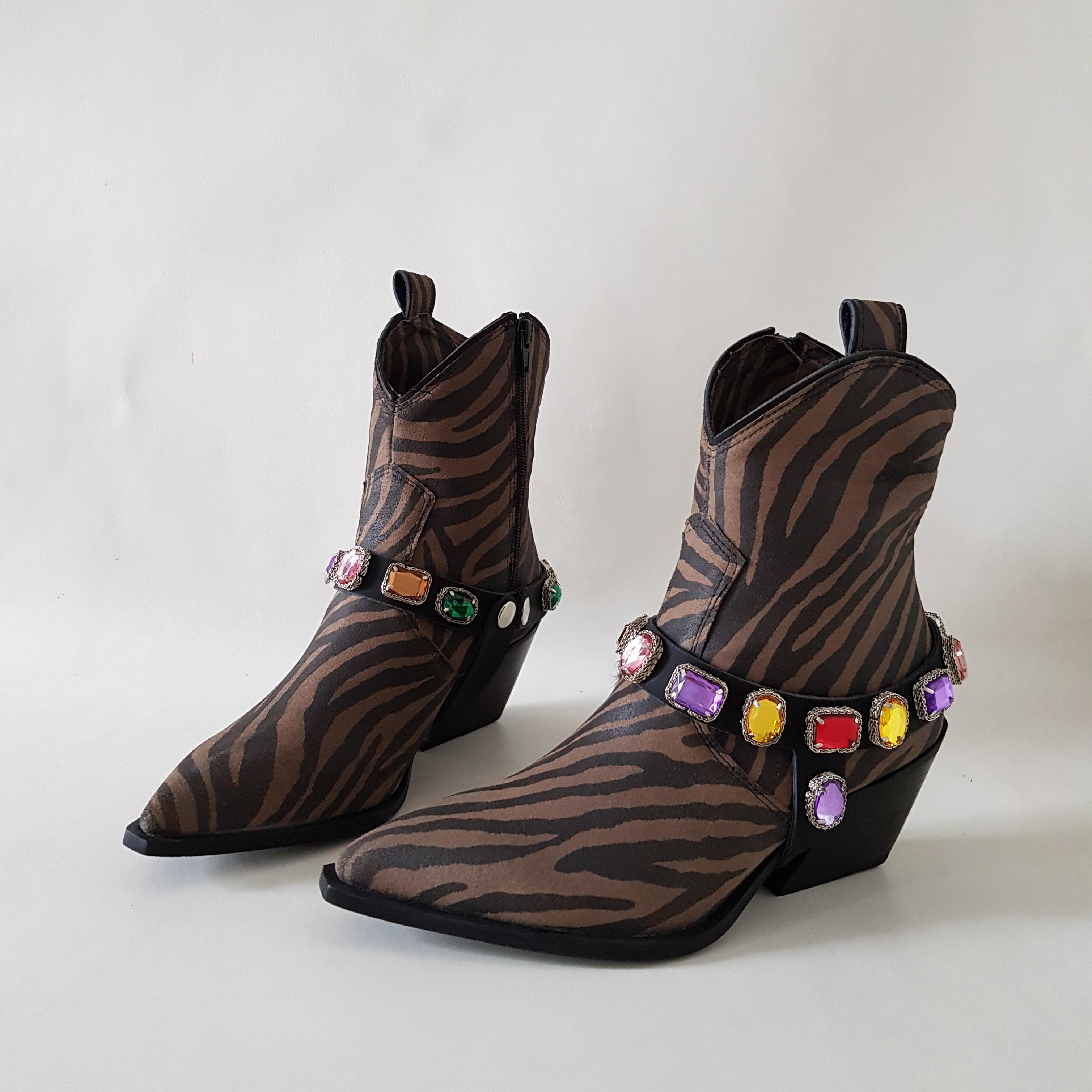 Stivaletti pelle zebrato e strass colorate stephan2 - Lia diva scarpe ...