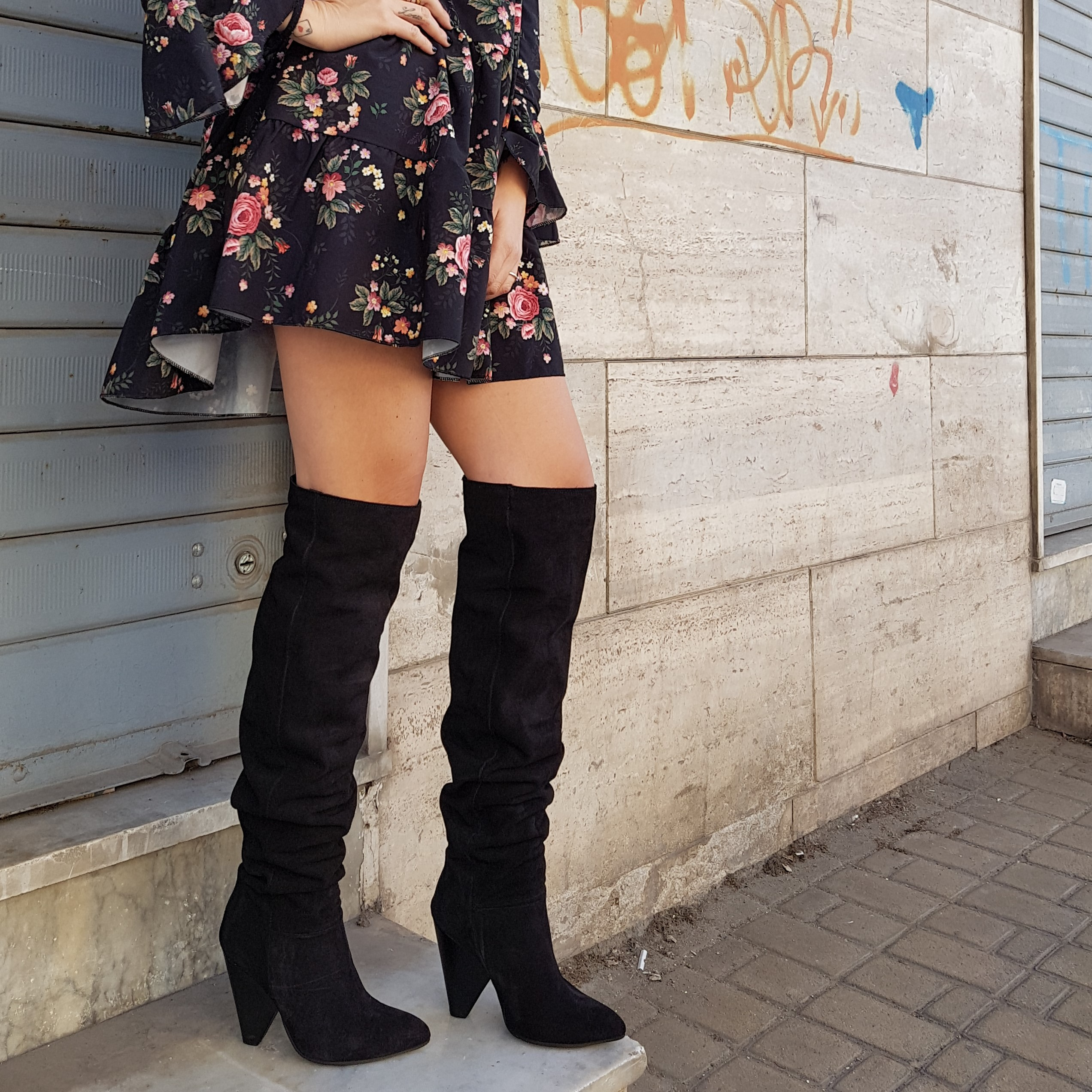 Stivali sopra al ginocchio camoscio nero celine - Lia diva scarpe ...