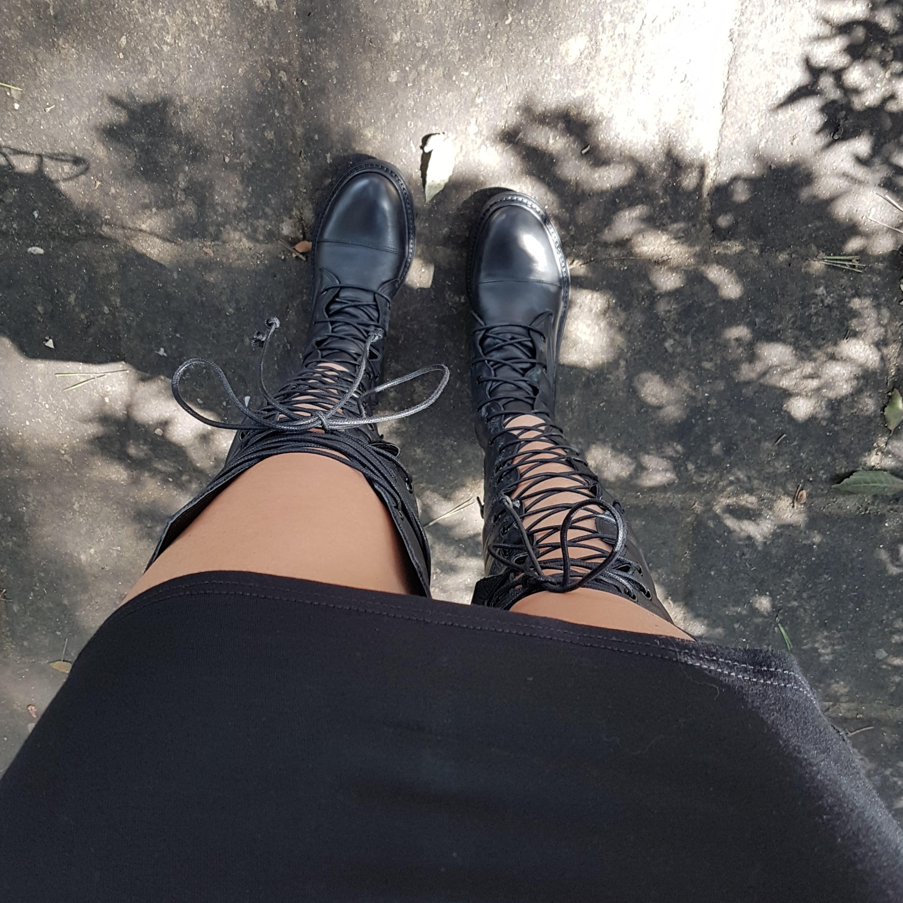 Stivali sopra al ginocchio lacci pelle nero ramona2 - Lia diva scarpe ...