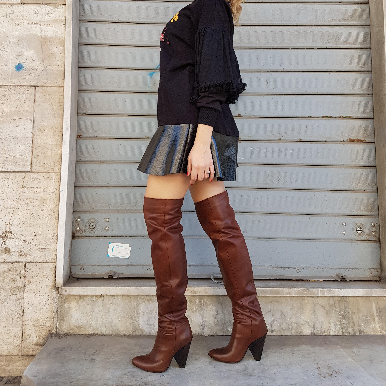 Stivali sopra al ginocchio pelle marrone celine - Lia diva scarpe ...