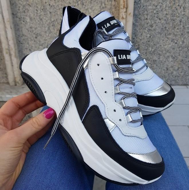 Sneakers bianco nero milano nero kent1 - Lia diva scarpe ...