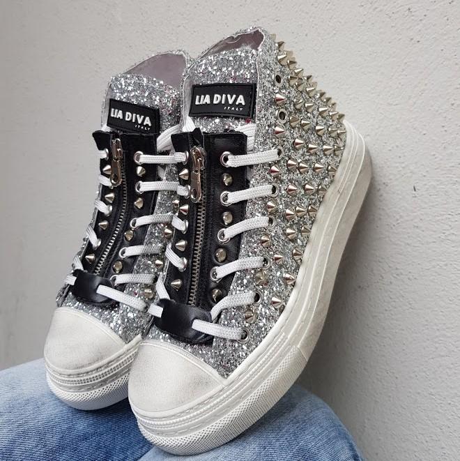 Sneakers glitter argento e borchie coin - Lia diva scarpe ...