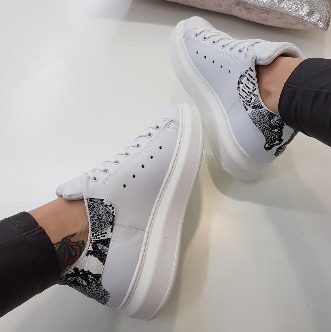 Sneakers pelle bianco e anaconda lexa lia diva - Lia diva scarpe ...