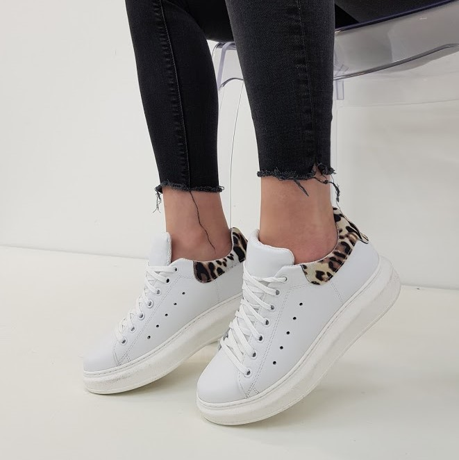 Sneakers pelle bianco e leopardo lexa - Lia diva scarpe ...