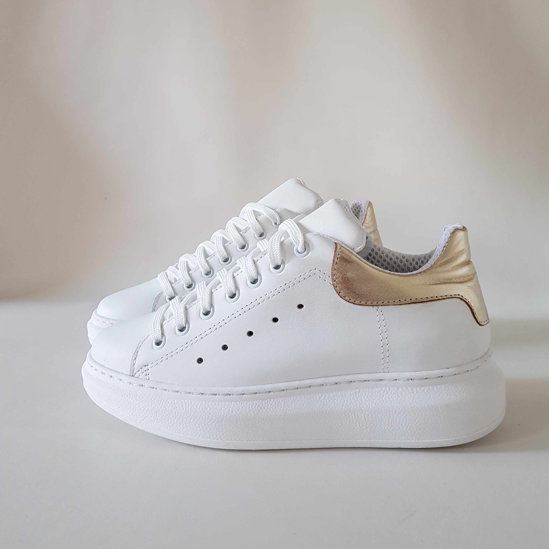 Sneakers pelle bianca e pelle oro lexa - Lia diva calzature ...