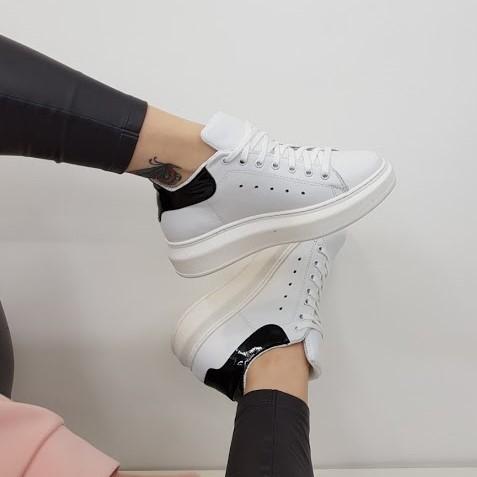 Alexa pelle bianco e vernice nero lexa - Lia diva calzature ...