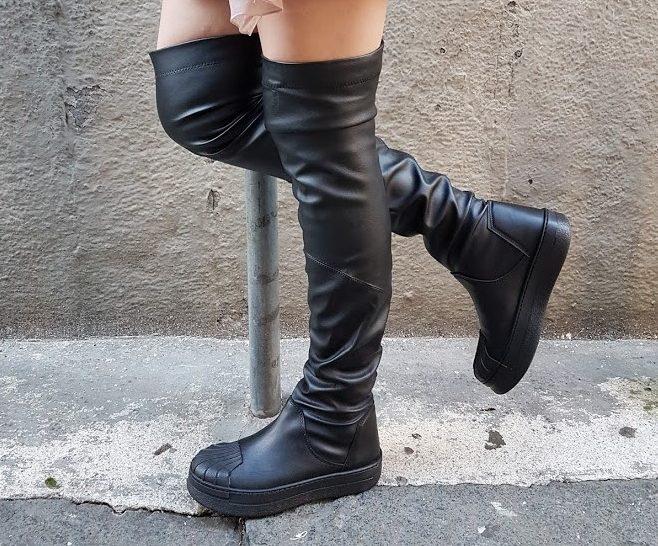 Sneakers stivale nappa nero miami100 lia diva - Lia diva scarpe ...
