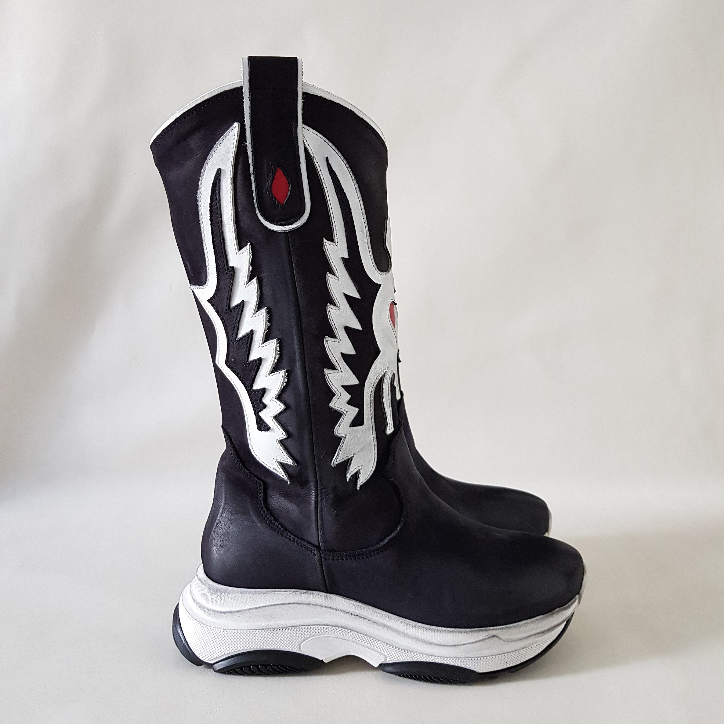 Sneakers stivale nero bianco kent top - Lia diva calzature ...