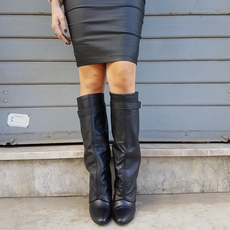 Stivali pelle nero risvolto annachiara 3 - Lia diva scarpe ...