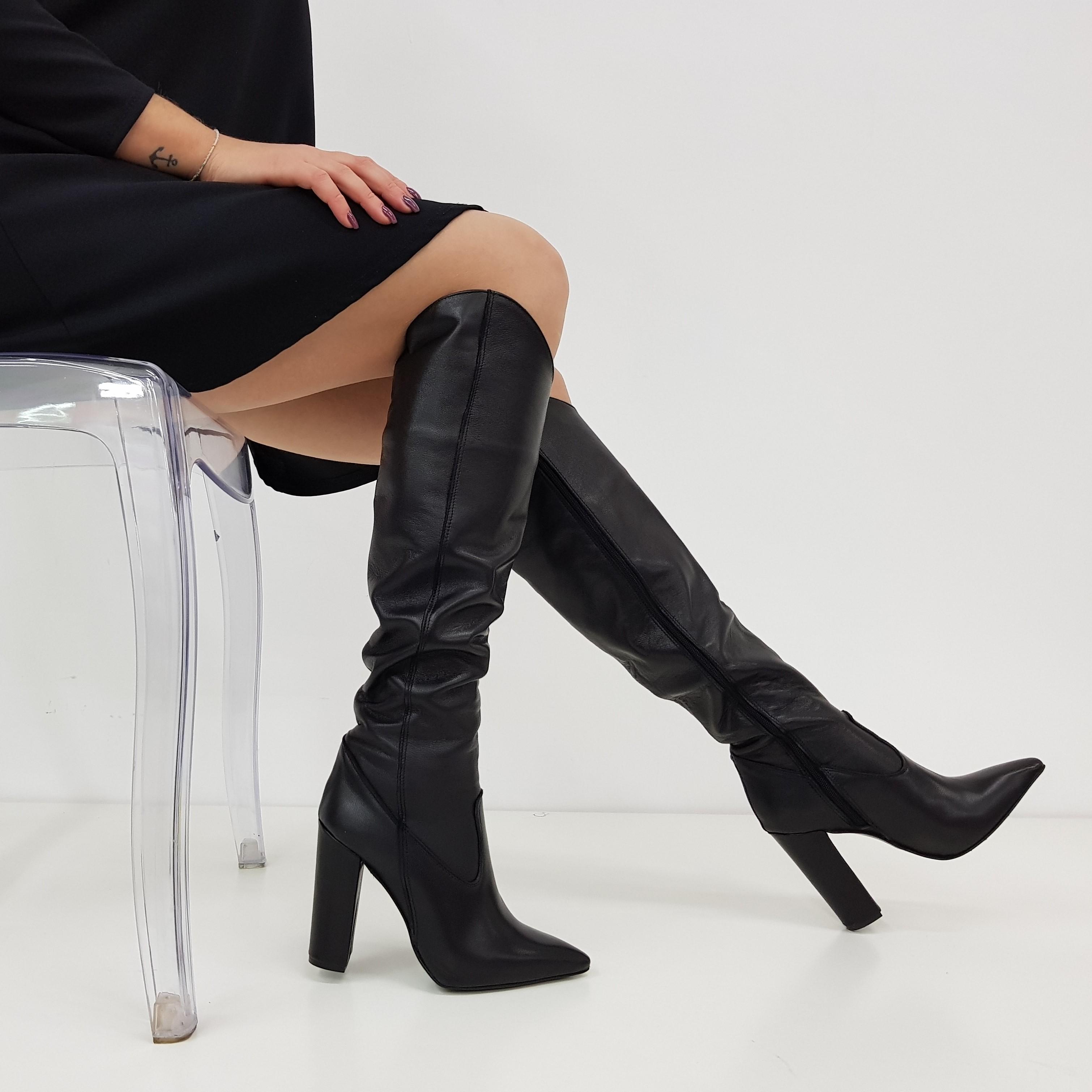 Stivali sotto al ginocchio pelle nero sara 3 - Lia diva scarpe ...