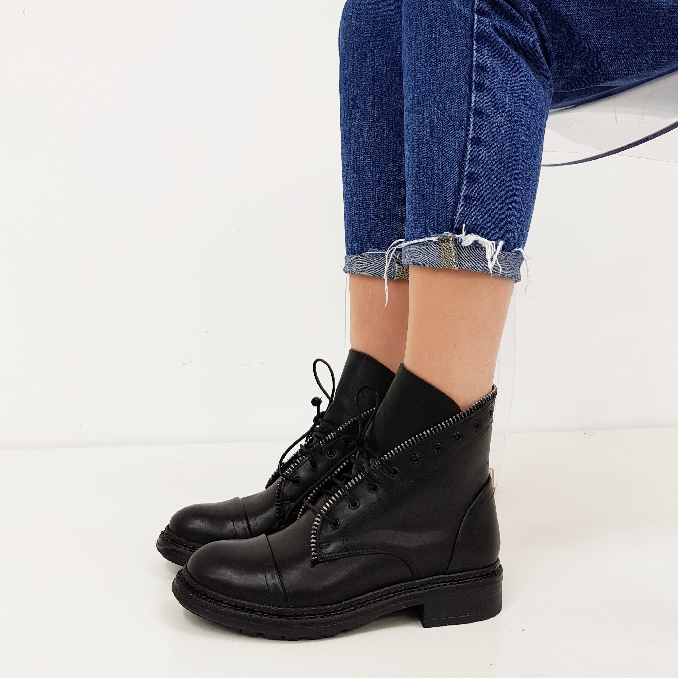 Stivaletti lacci pelle nero ramona1 - Lia diva scarpe ...