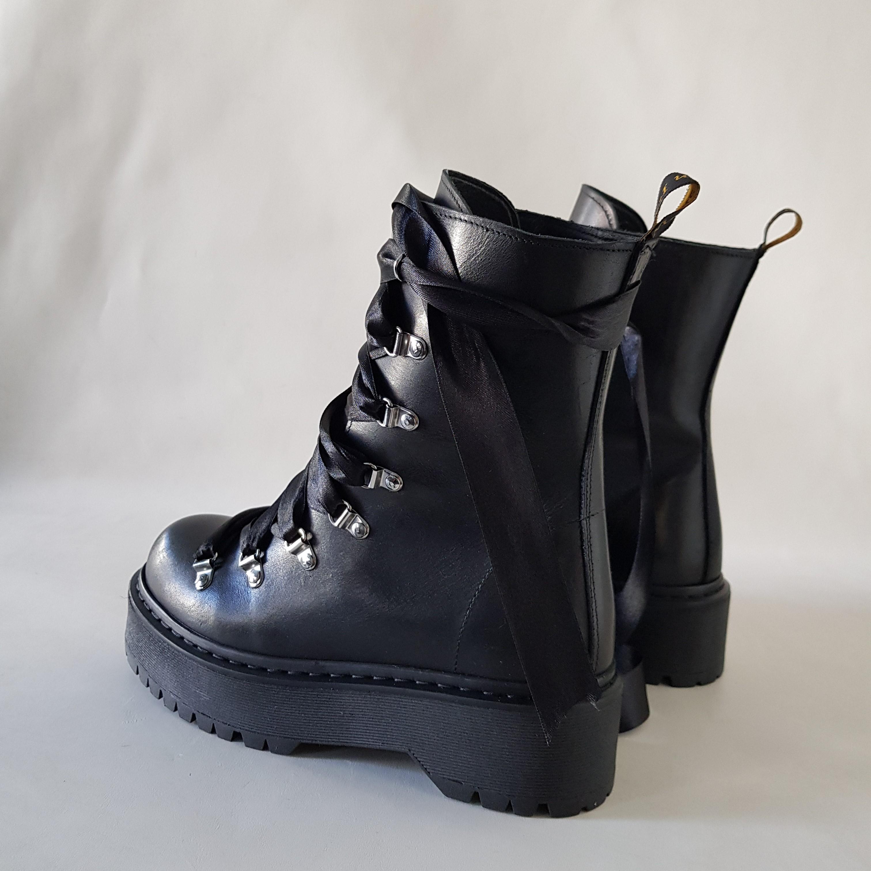 Stivaletti lacci raso nero pelle nero oxford100 - Lia diva scarpe ...
