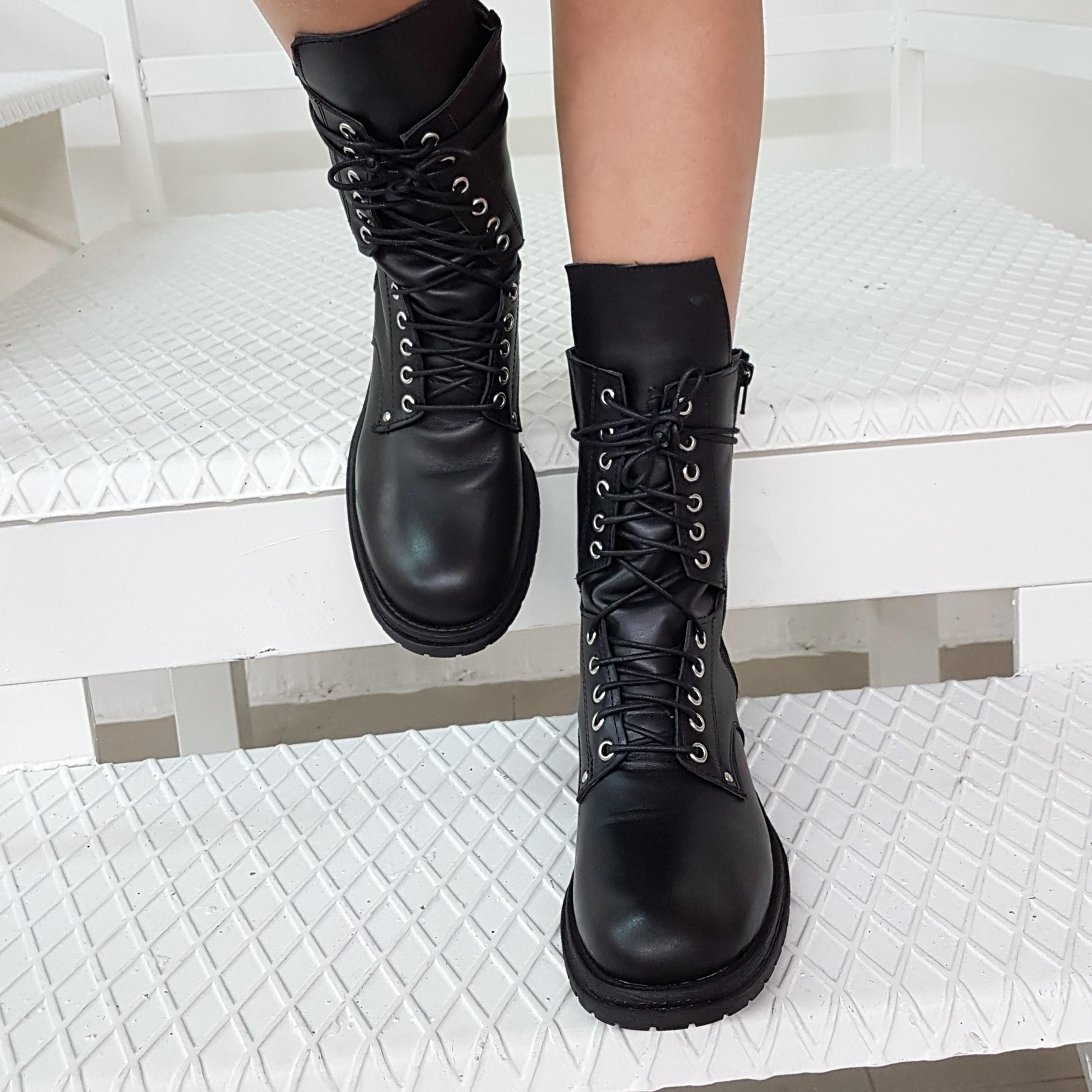 Stivaletti pelle nero lacci mood - Lia diva calzature ...