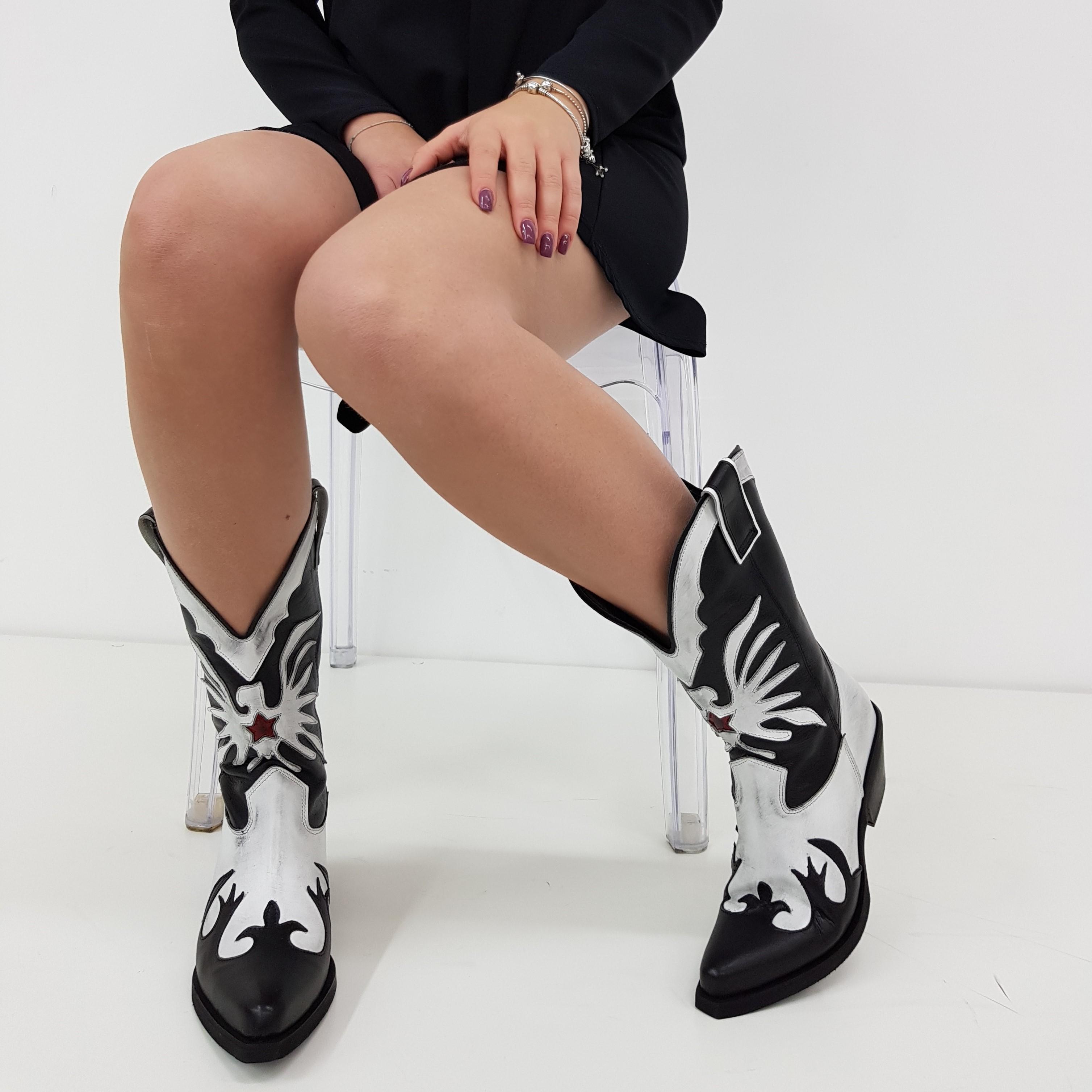 Stivale pelle bianco e nero oldwest30 - Lia diva scarpe ...