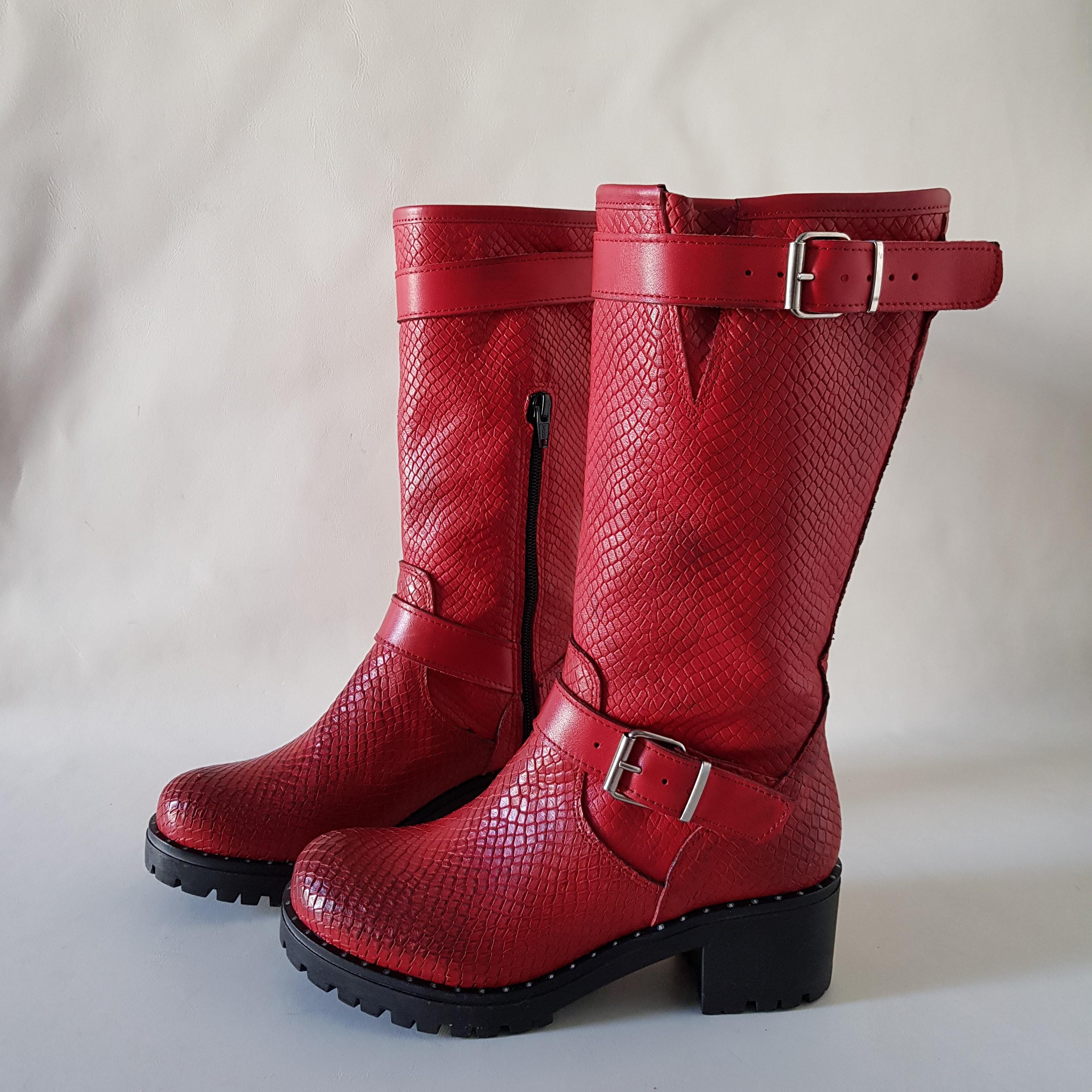 Stivale pitone rosso sonya - Lia diva scarpe ...