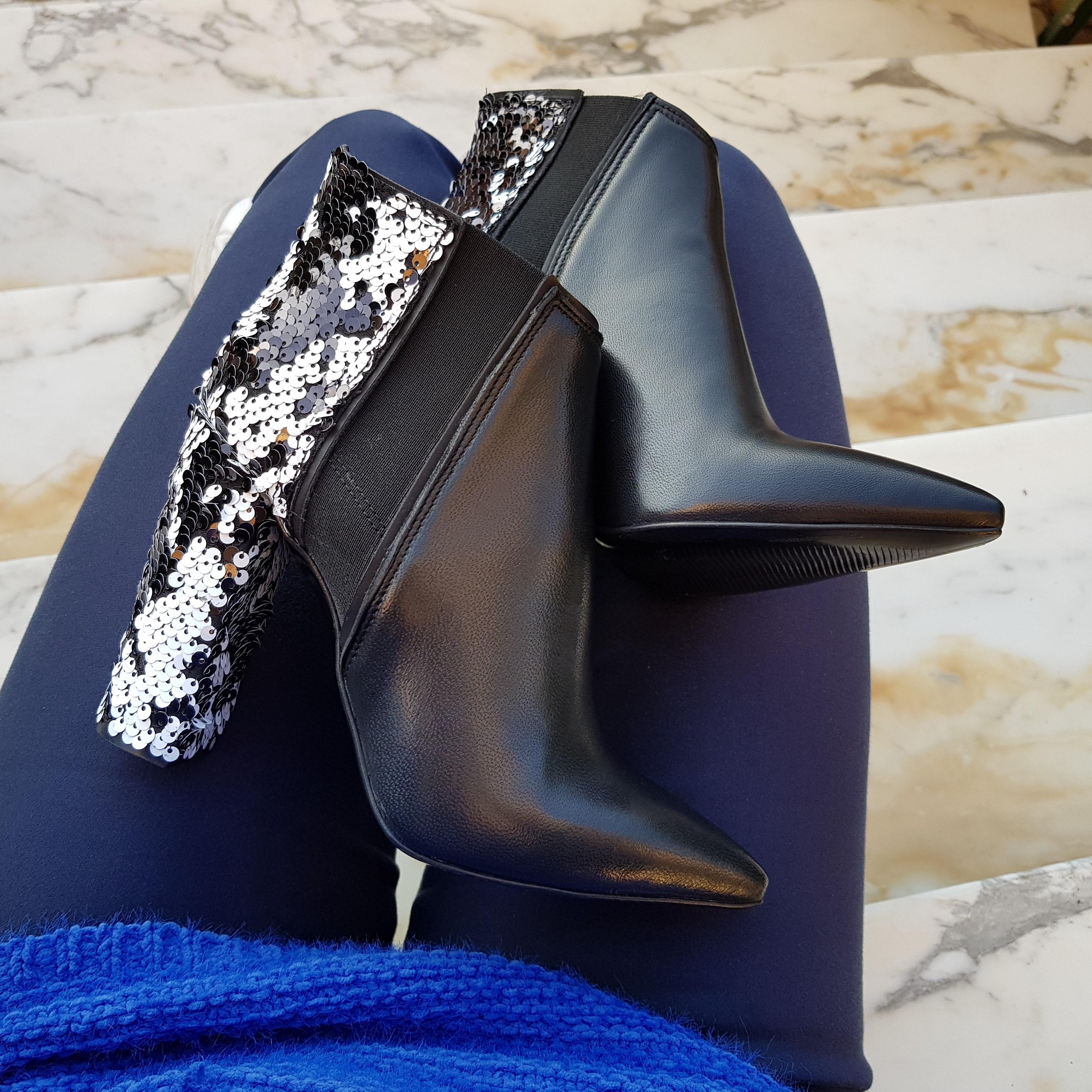 Tronchetti pelle nero e pailettes bianco nero sara 2 - Lia diva calzature ...
