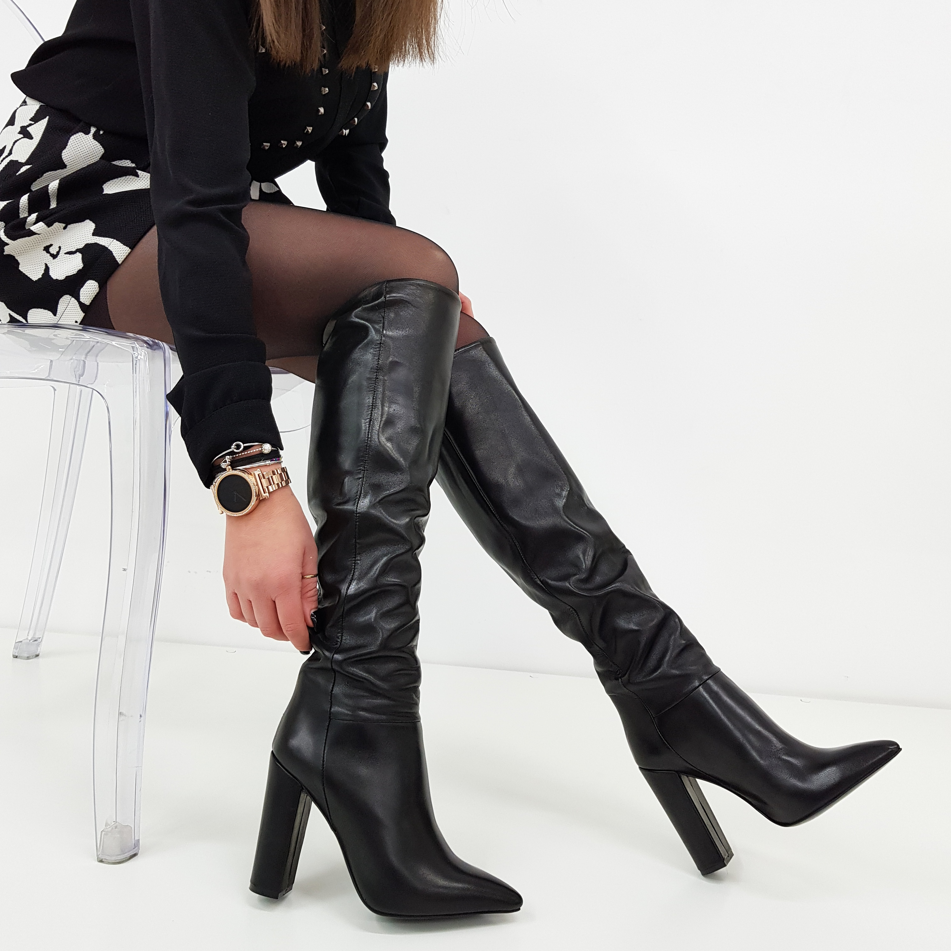 il più votato genuino migliore online stile alla moda STIVALE SOTTO AL GINOCCHIO PELLE NERO PUNTA E TACCO SARA 4
