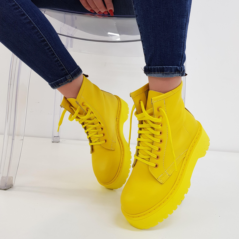 Stivaletti lacci pelle giallo total oxford - Lia diva calzature ...
