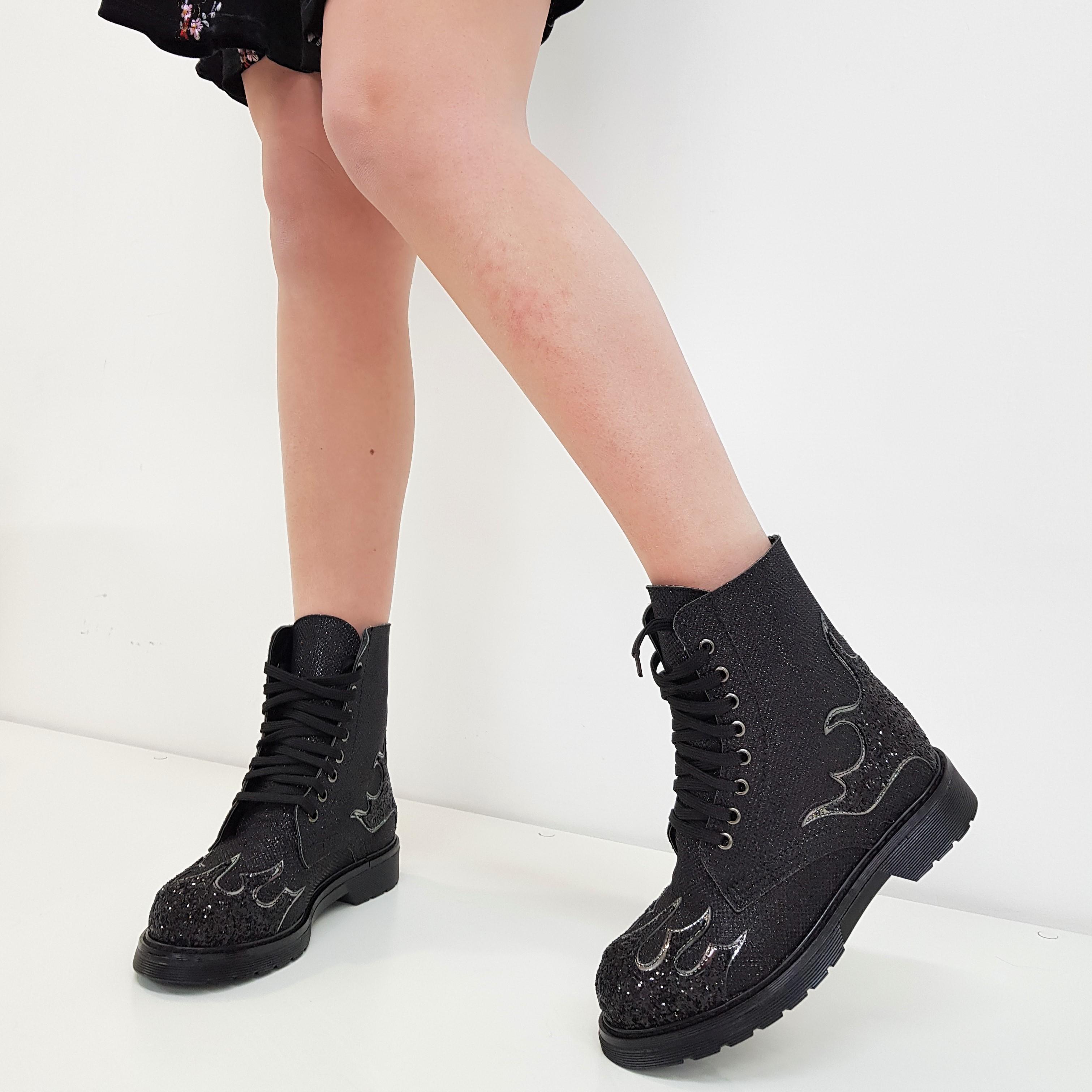 Stivaletti lacci satinato nero e glitter nero flame oxford - Lia diva calzature ...