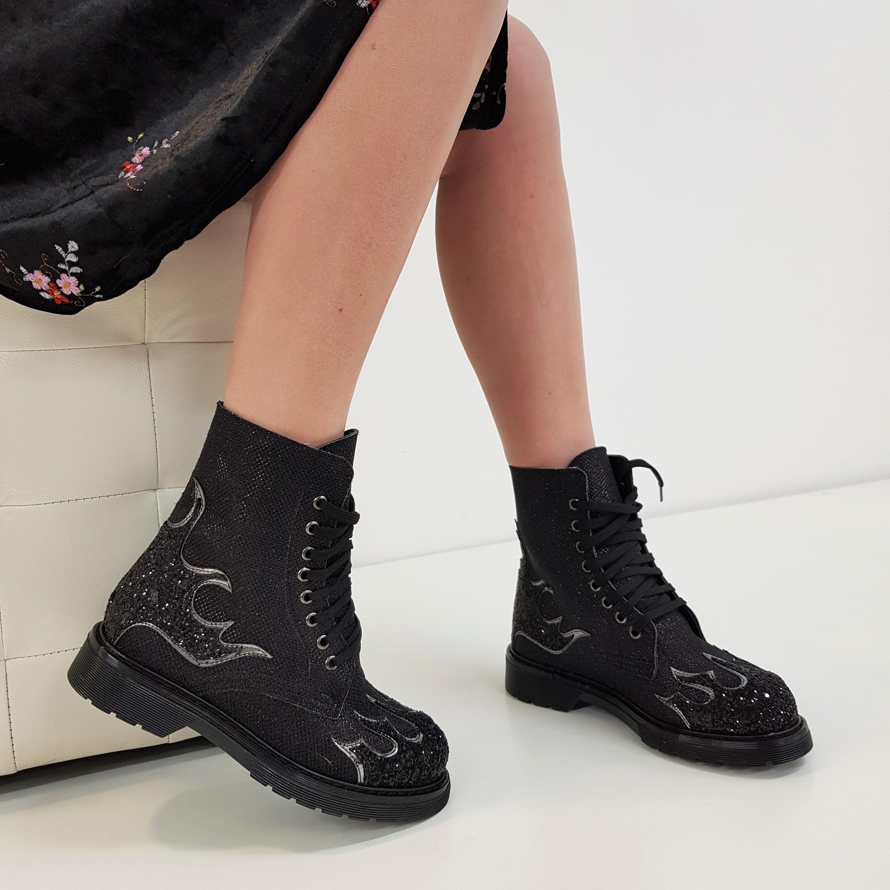 Stivaletti lacci satinato nero e glitter nero flame oxford - Lia diva scarpe ...