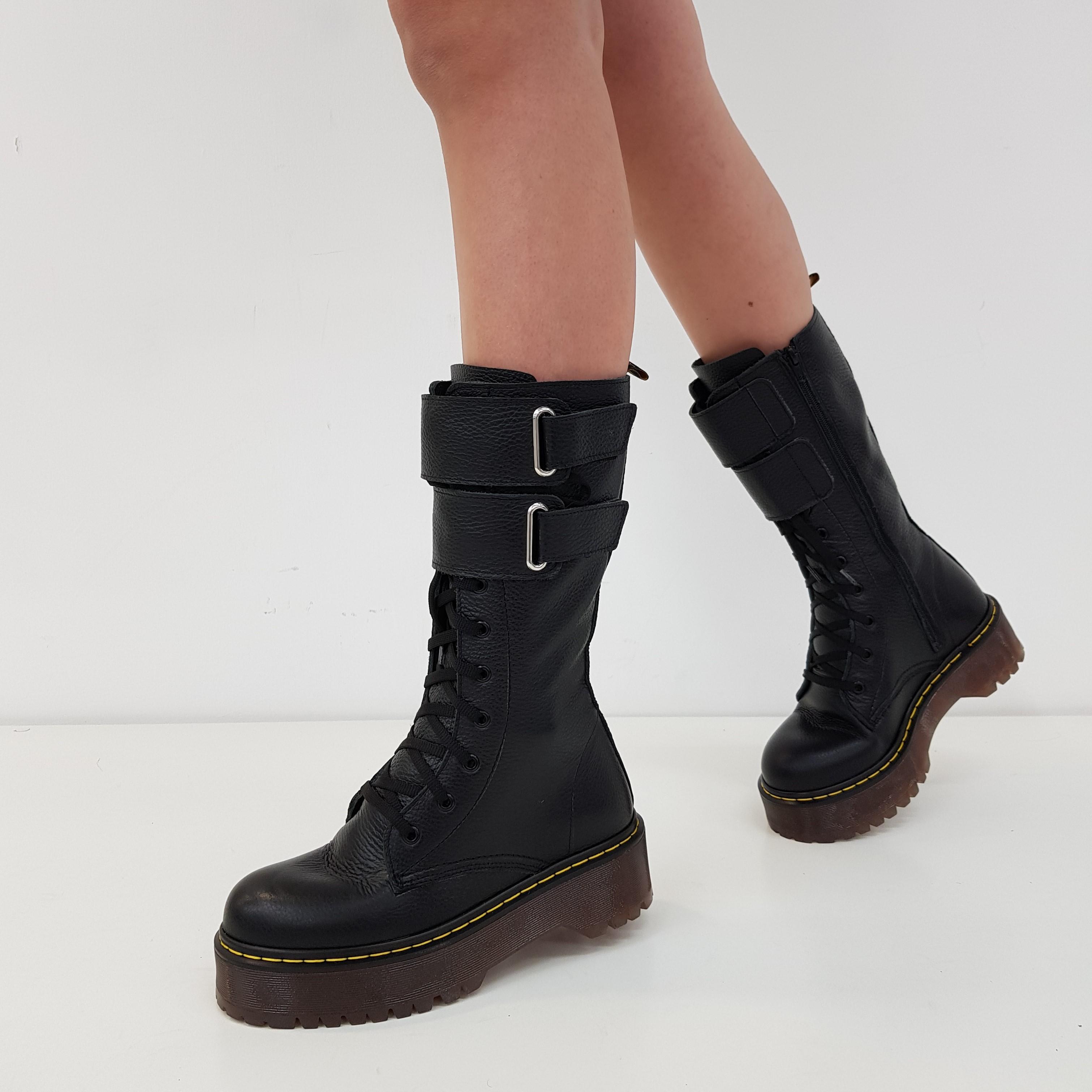 Stivali lacci pelle nero oxford limited - Lia diva calzature ...