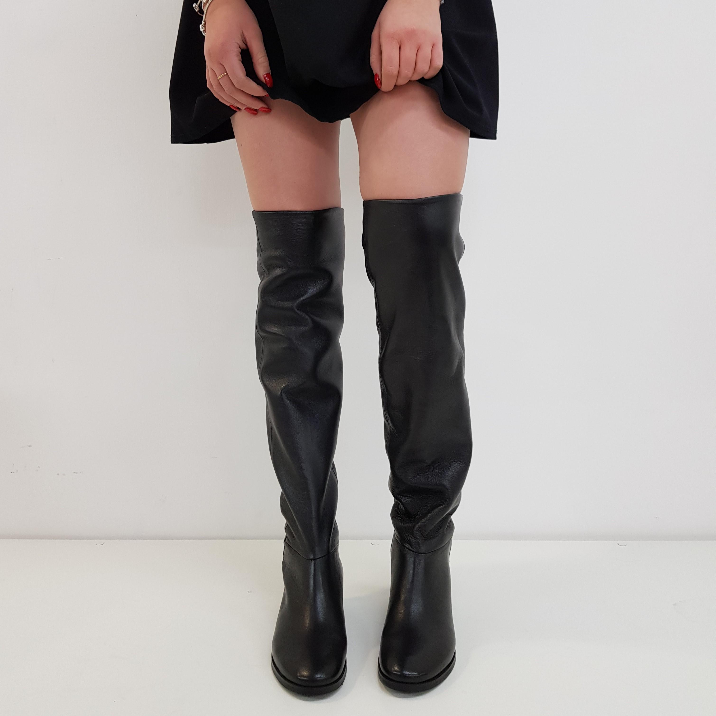 Stivale sopra al ginocchio pelle nero francesca 10 - Lia diva calzature ...